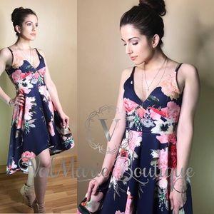 Beach Floral Dress - Navy